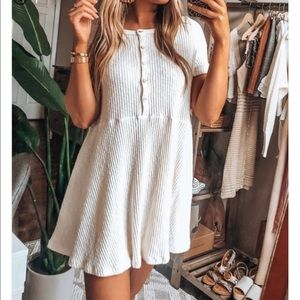 Ribbed white button up henley dress